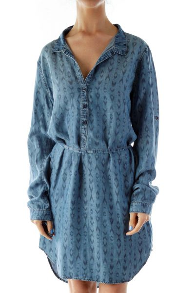 Blue Leopard Print Collared Shirt Dress