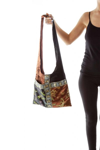 Brown Black Embroidered Shimmer Shoulder Bag