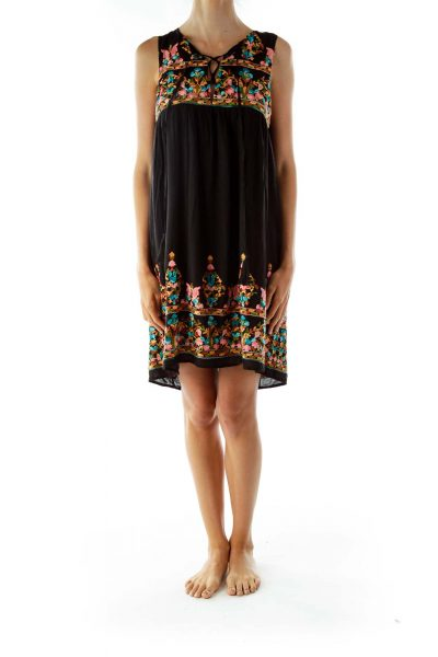 Black Sleeveless Embroidered Day Dress