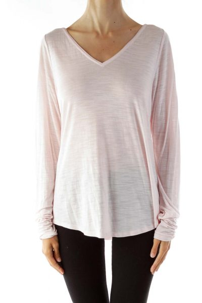 Pink Long Sleeve V-neck Shirt