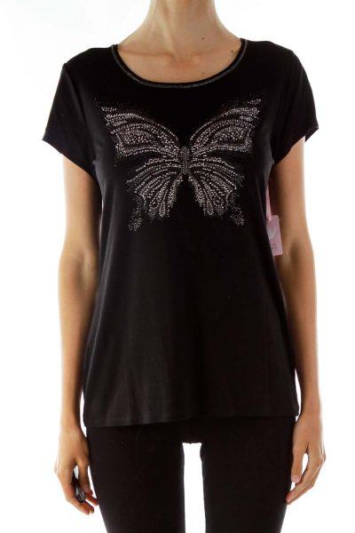 Black Studded Round Neck T-shirt
