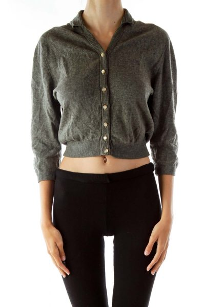 Gray Cashmere Cardigan