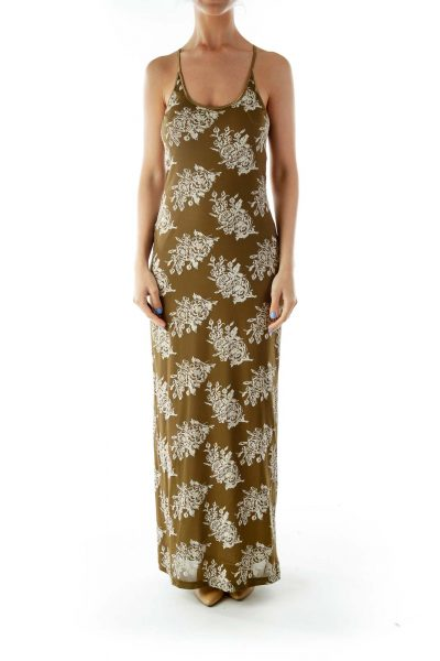 Green Sleeveless Print Day Dress