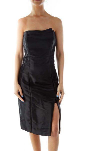5dc4265435aea Black Metallic Strapless Cocktail Dress ...