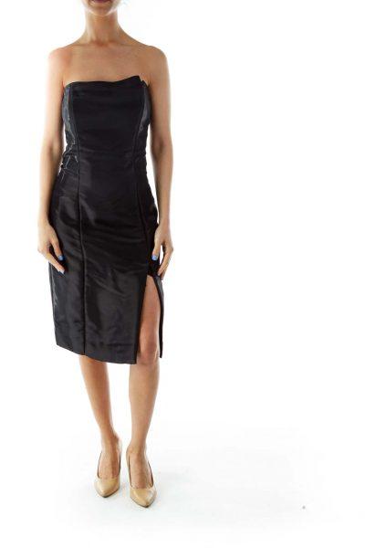 Black Metallic Strapless Cocktail Dress