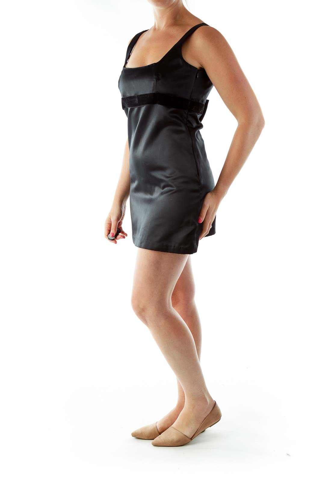 Black Belted Sleeveless Cocktail Dress