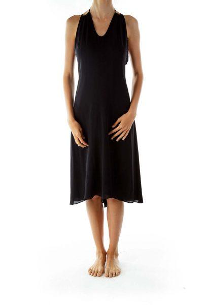 Black Sleeveless Flared Cocktail Dress