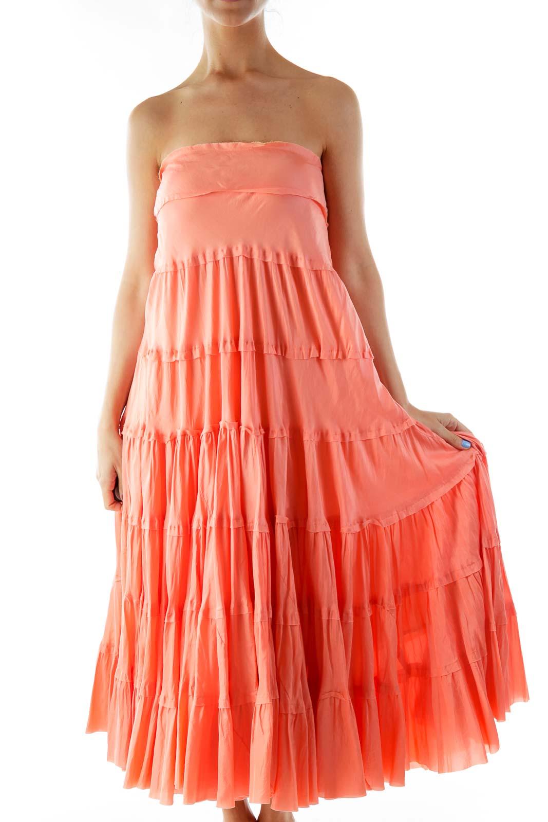 Pink Ruffled Maxi Skirt