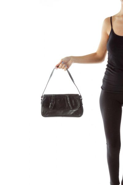Black Stitched Shoulder Bag
