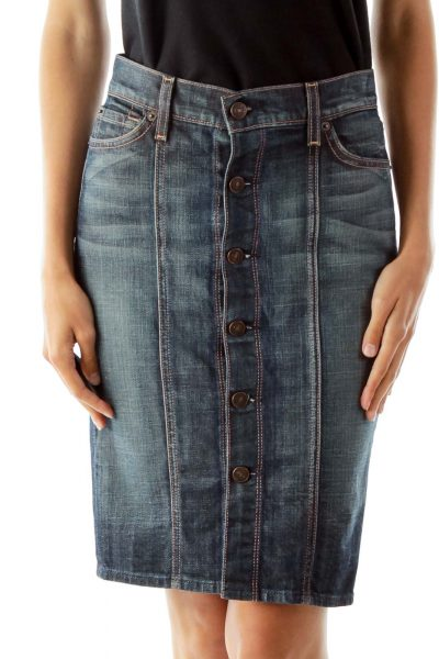Blue Buttoned Denim Skirt