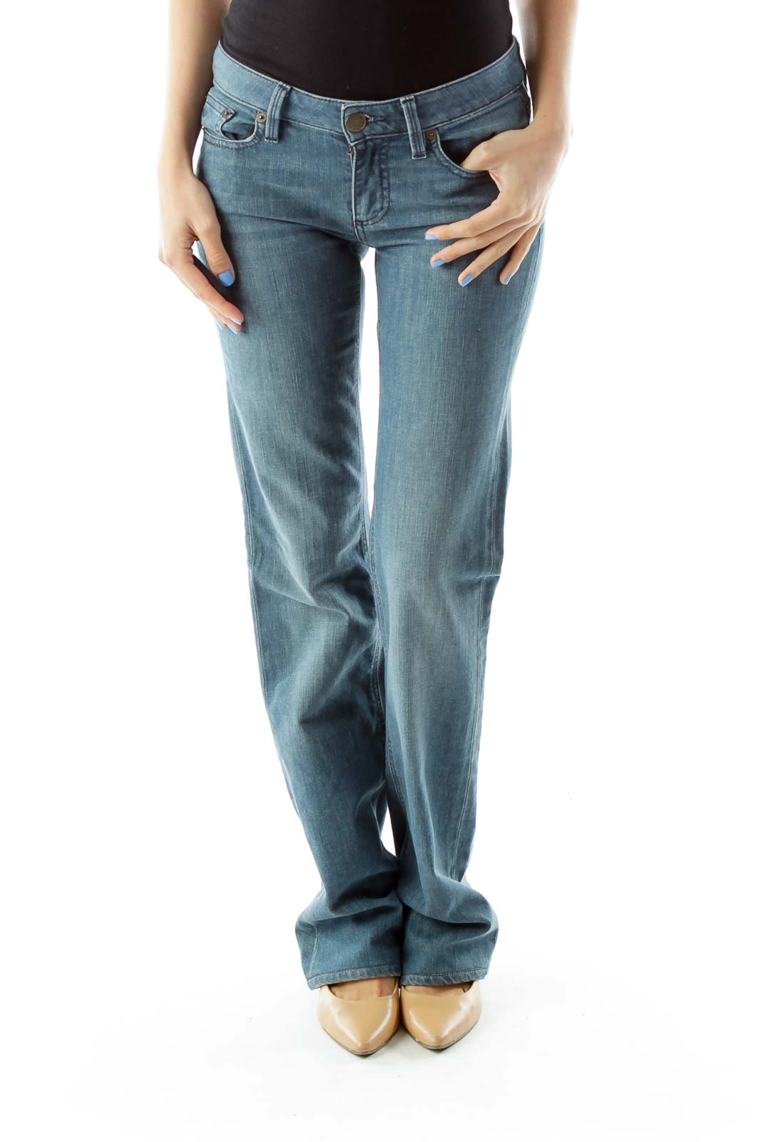 Blue Faded Flared Jeans