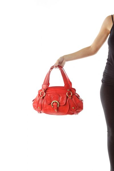 Red Buckled Leather Shoulder Bag