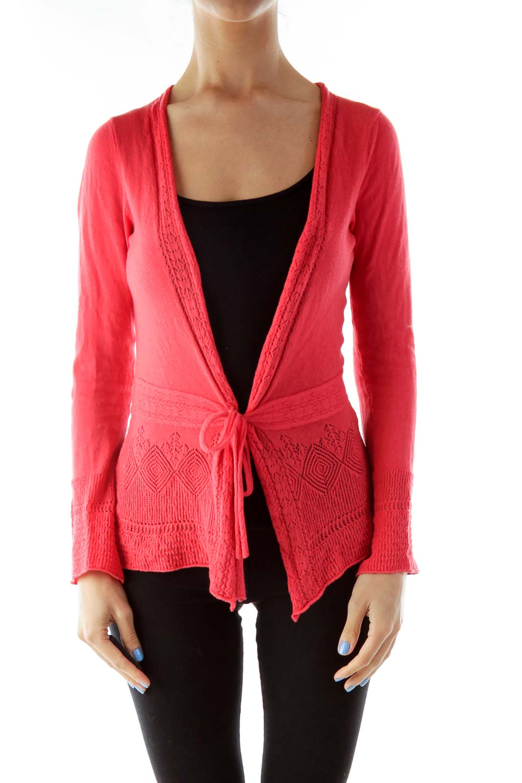 Red Crocheted Wrap Cardigan