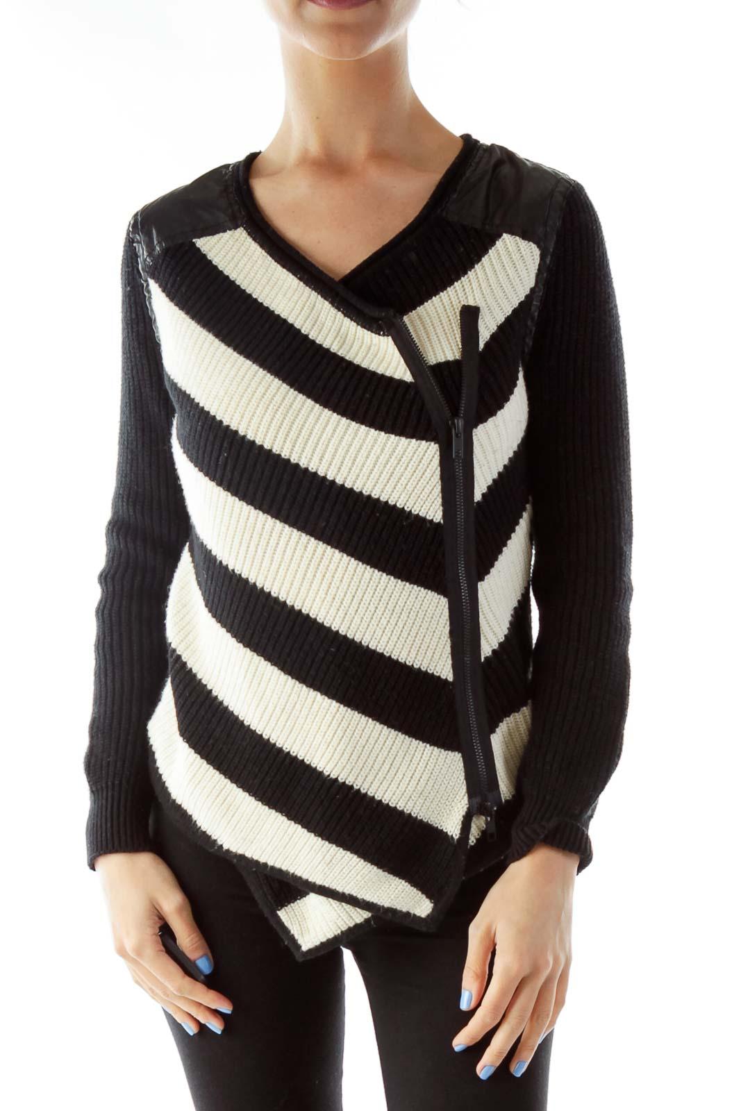 Black Cream Asymmetric Knit Sweater
