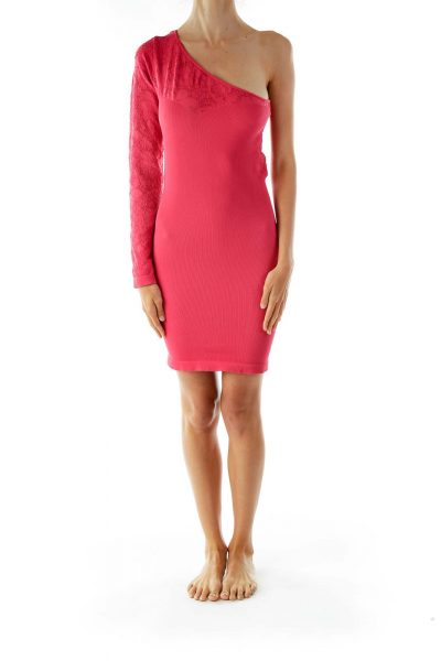 Pink One-Shoulder Bodycon Cocktail Dress