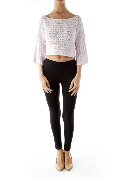 Pink Boat-Neck Knit Crop Top