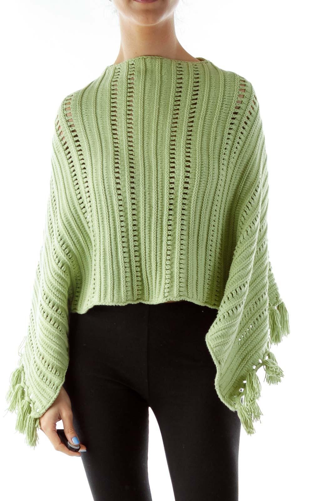 Green Crocheted Poncho w/ Tassels