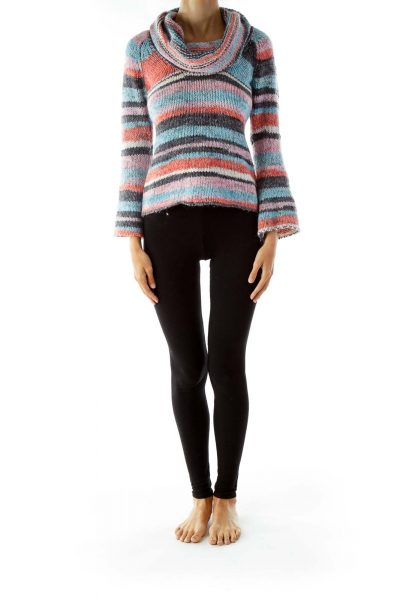Multicolored Cowl Neck Knit Sweater