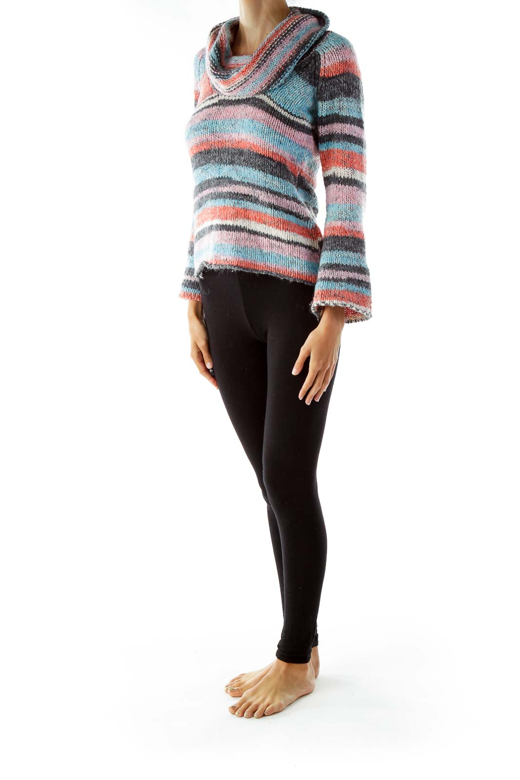 Multicolored Cowl Neck Knit Sweater