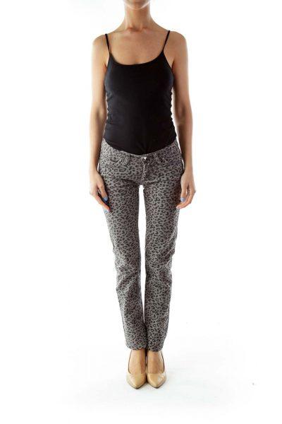 Grey Leopard Print Skinny Jeans