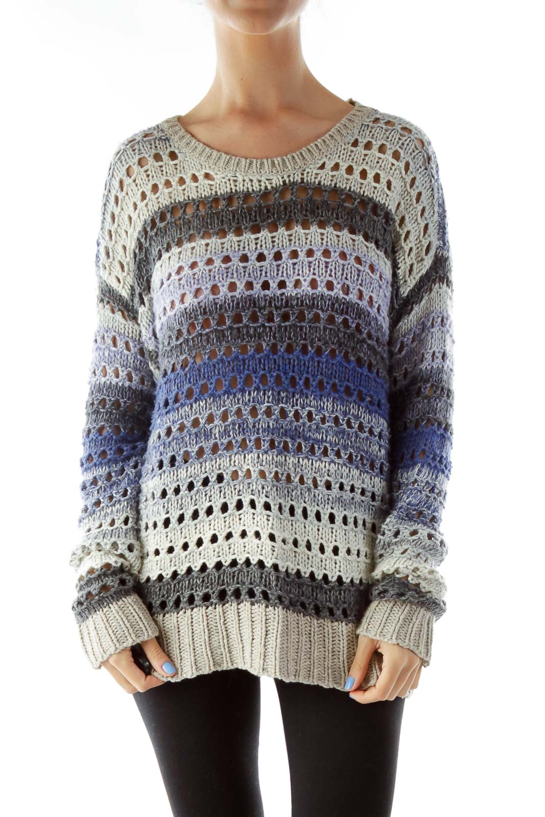 Blue Gray Cable-Knit Sweater