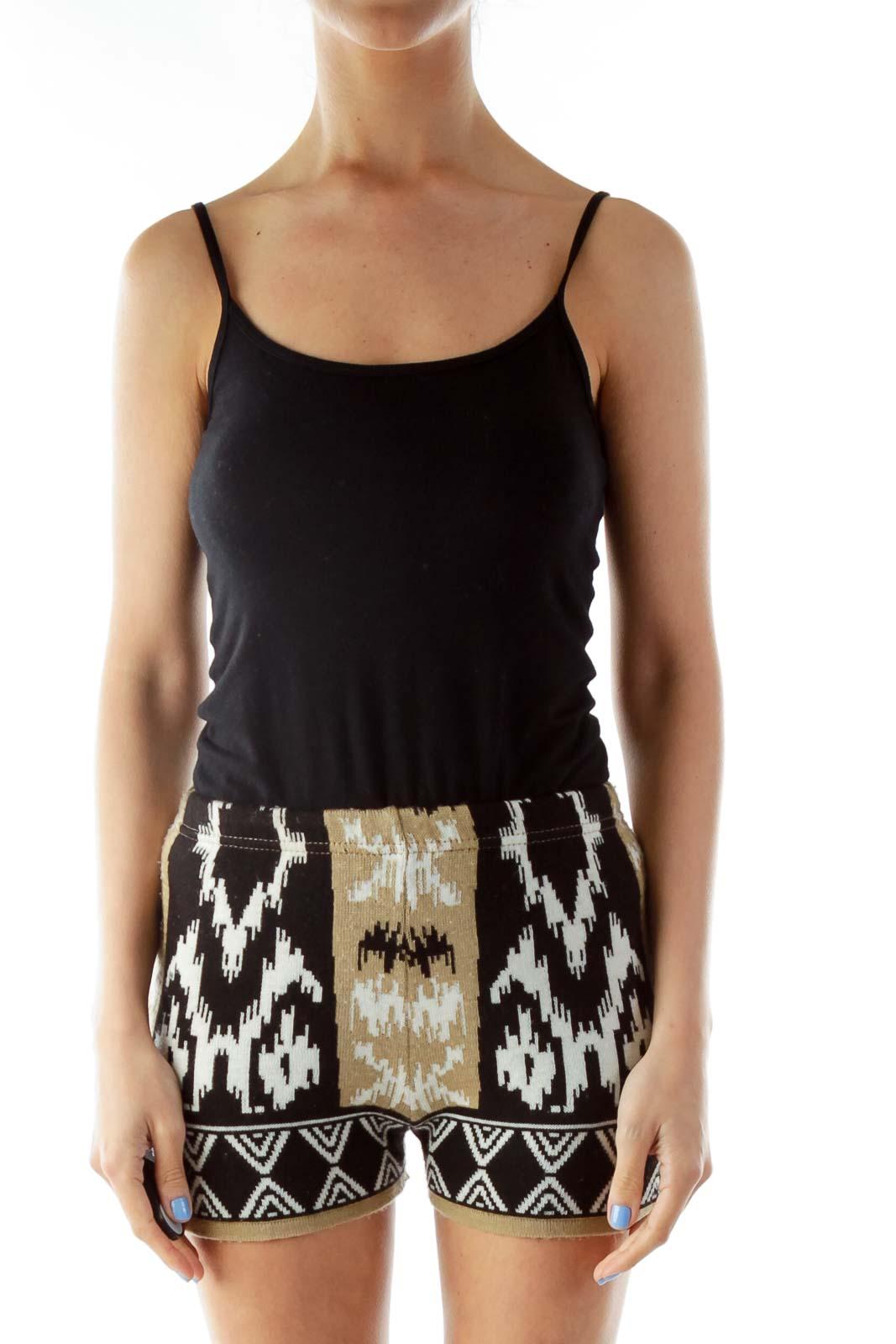 Black Beige High-Waisted Tribal Print Shorts