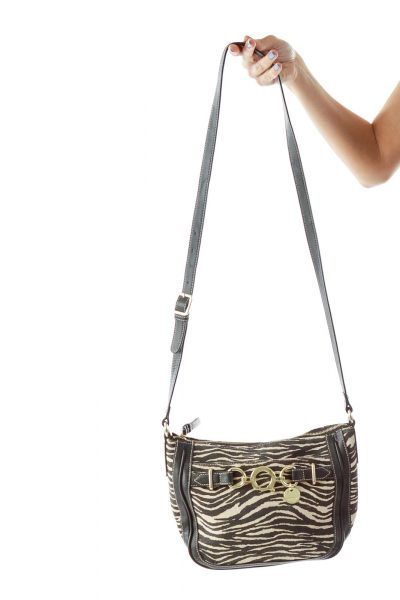 Black White Zebra Print Crossbody Bag