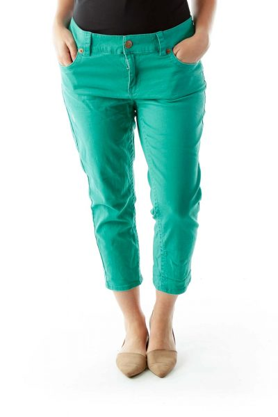 Green High-Waisted Cropped Jeans