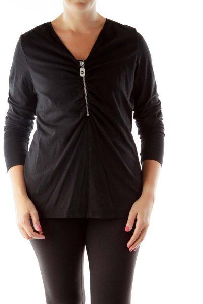 Black Zippered V-neck Blouse
