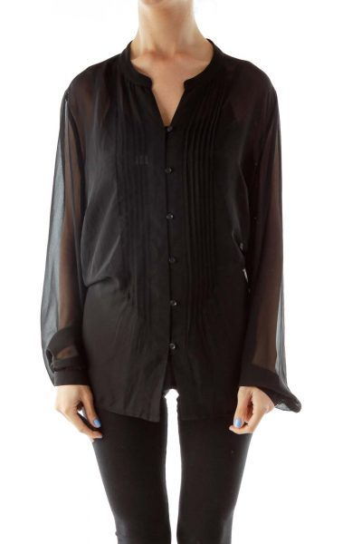 Black Buttoned V-neck Blouse