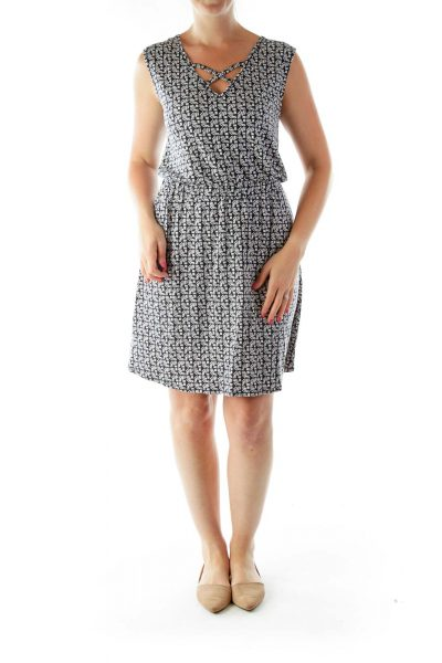 Black White Print Sleeveless Day Dress