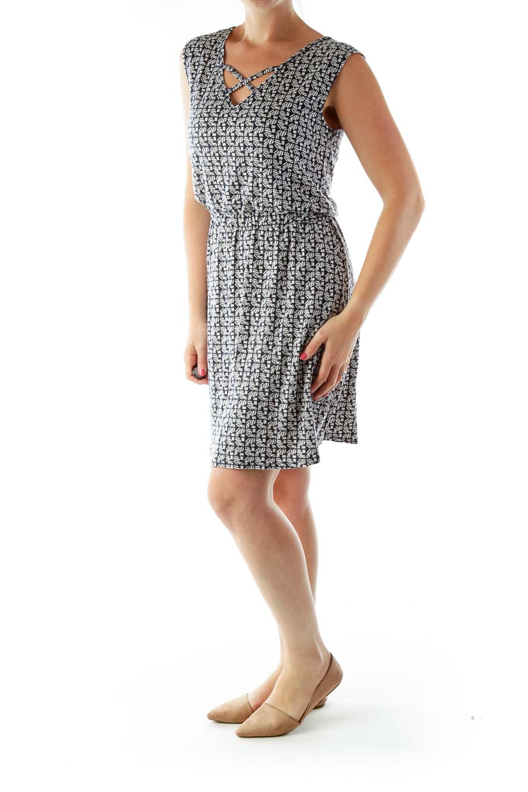 Black White Print Sleeveless Day Dress
