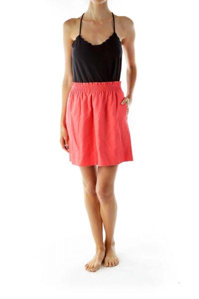 Pink Flared Mini Skirt