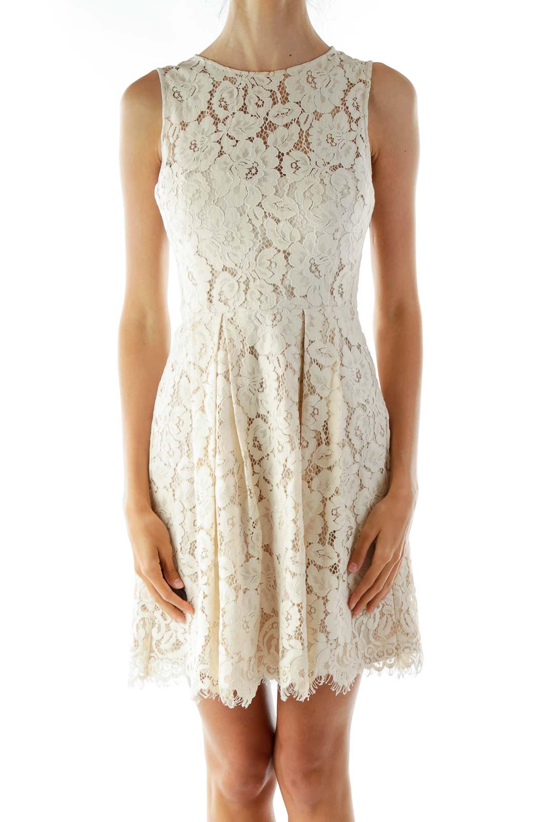 Cream Lace Sleeveless Day Dress