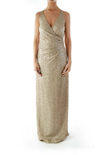 Beige Metallic Sleeveless Evening Dress