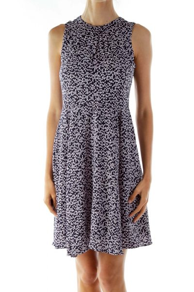 Navy Pink Print Sleeveless Work Dress