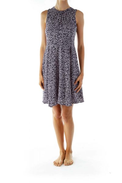 Navy Pink Print Sleeveless Work Dress