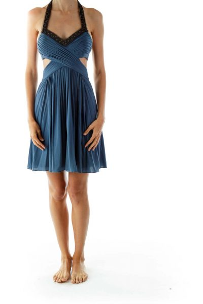 Blue Beaded Cut-Out Cocktail Dress