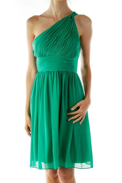 Green One-Shoulder Cocktail Dress