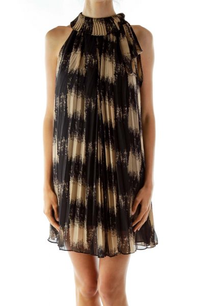 Black Beige Printed Shift Dress