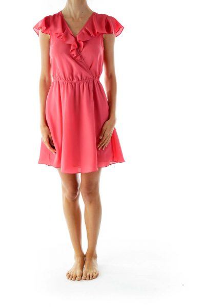 Pink Ruffled Open-Back Day Dress