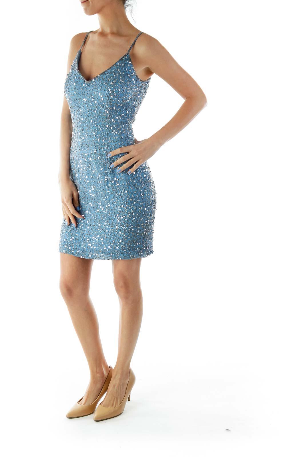 Blue Silk Beaded Cocktail Dress