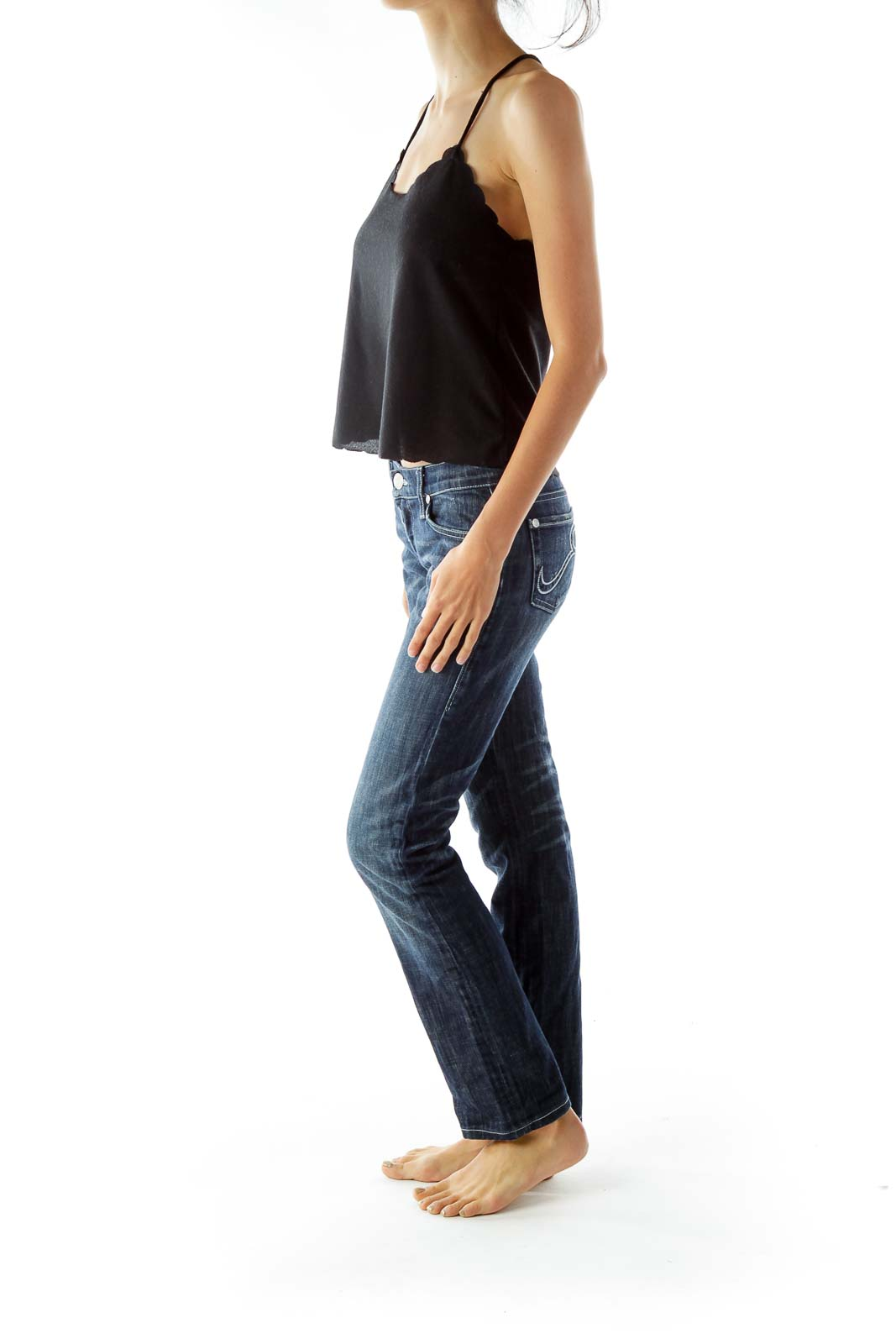 Blue Straight-Leg Faded Jeans
