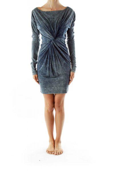 Blue Scrunched Zippered Faux-Denim Dress