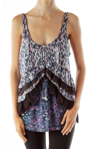 Blue Purple Animal Lace Ruffled Top