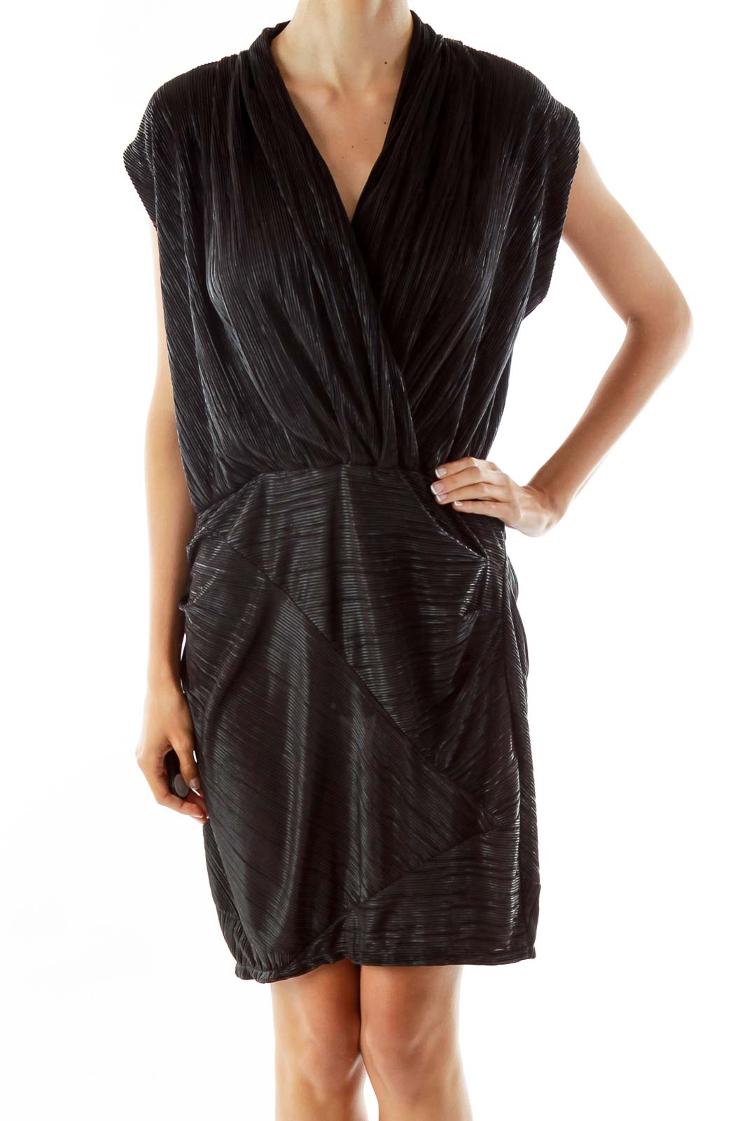 Black Pleated Sleeveless Day Dress