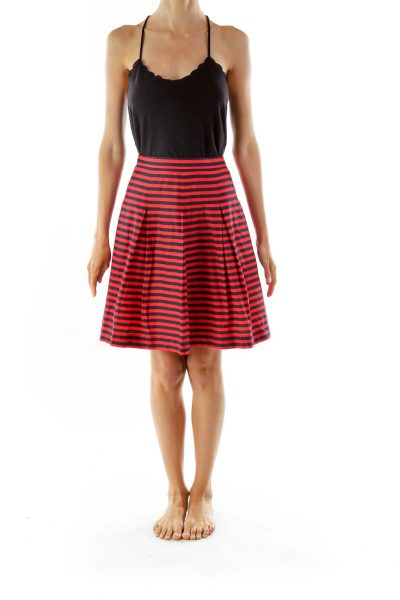 Red Navy Striped Pleated Skirt