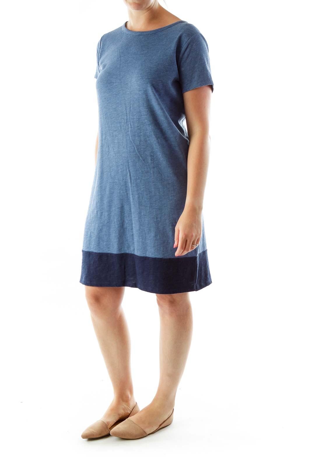 Bicolor Blue Navy Jersey Dress
