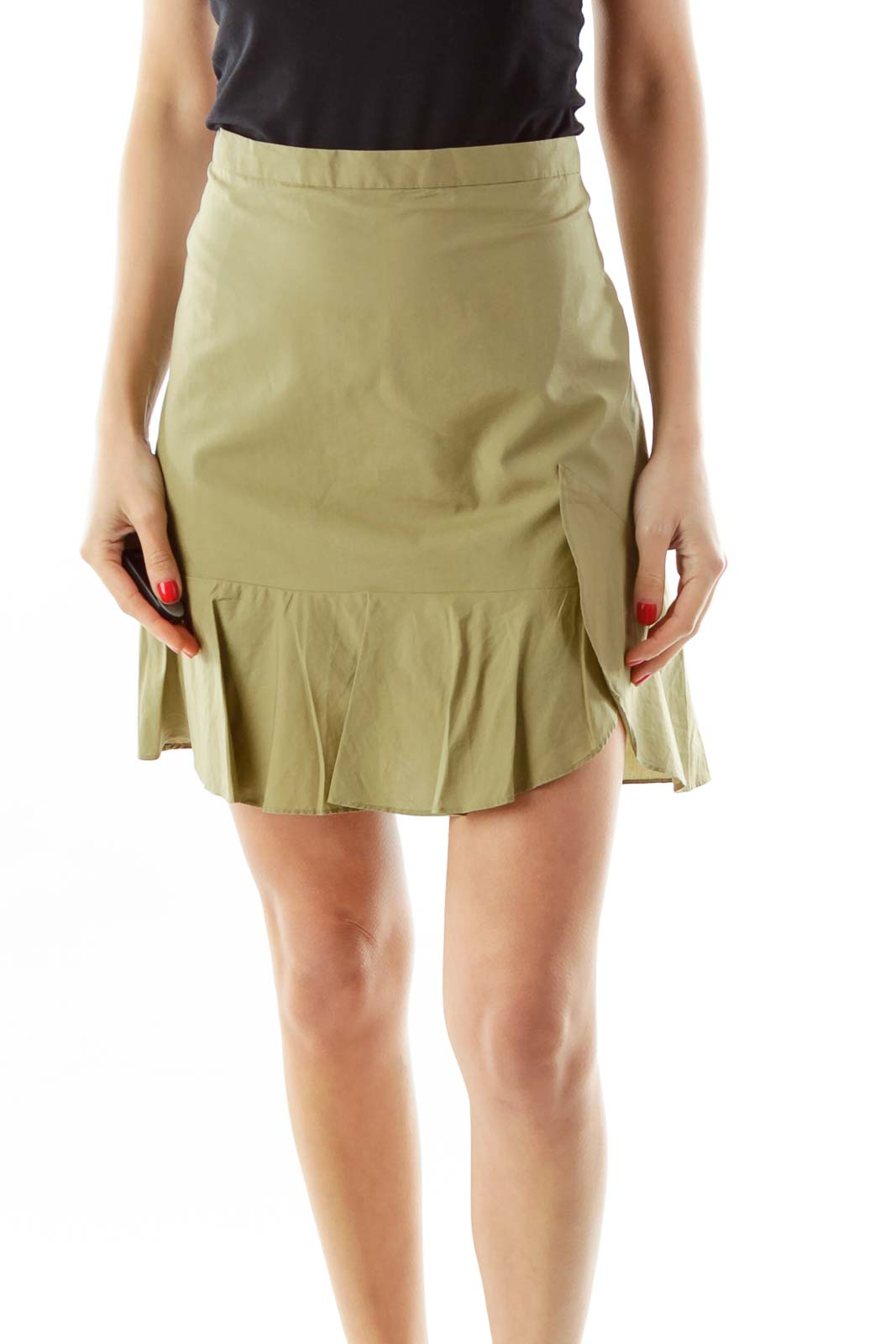 Green A-Line Mini Skirt