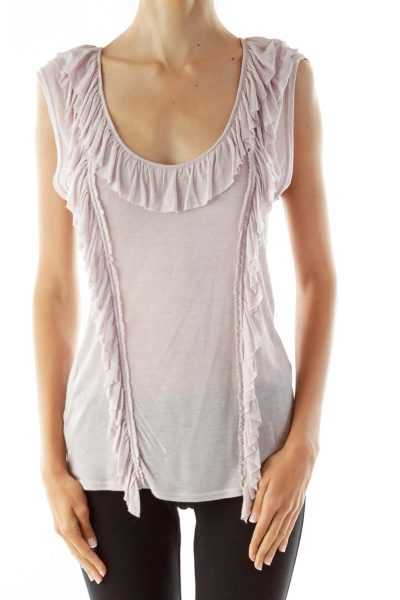 Pink Linen Ruffled V-Neck Top